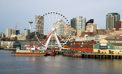 Waterfront Piers Dock Buildings Needle Ferris Wheel Seattle