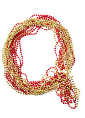 Letter q of red and gold beads