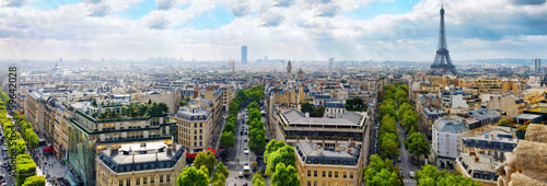 View of Paris from the Arc de Triomphe.  .Paris. France.