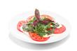 Caprese Salad. Tomato and Mozzarella slices with oregano