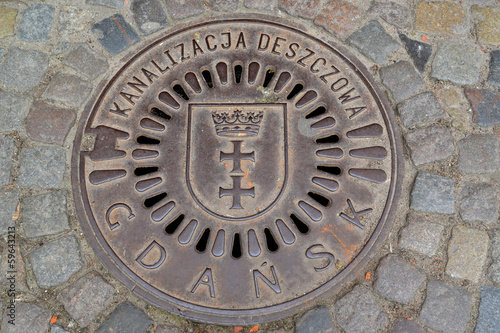 Hatch cover in Gdansk, Poland