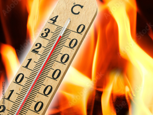 Mercury thermometer indicating high temperature
