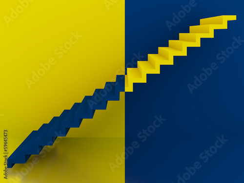 yellow and blue stairs in interior,3d