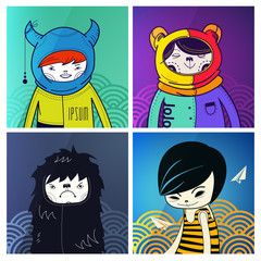 vector modern funny characters hipsters