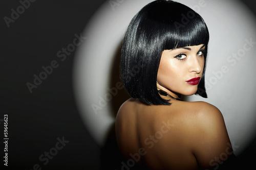 Beautiful Brunette Woman.Black Hair.bob Haircut.red lips girl