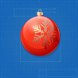 Christmas ball symbol like blueprint drawing.
