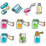 medicines and pharmaceutical products icon set