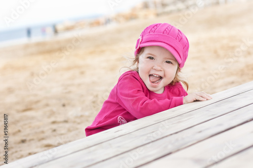 happy little girl playing