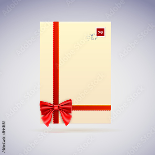 Congratulatory letter, envelope with scarlet ribbon and bow.