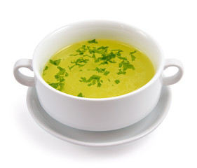 Chicken broth with greens.