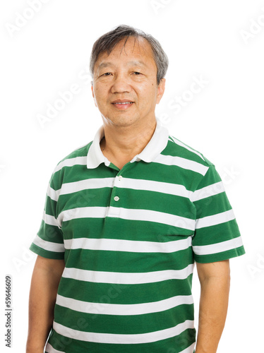 Senior asian man isolated on white