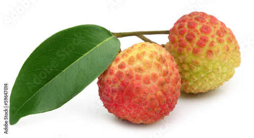 Lychee with green leaf