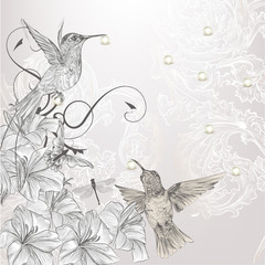 Beautiful vector background in vintage style with birds and flow
