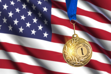 golden medal against USA flag background