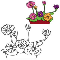 Vector illustration of flowers in a pot
