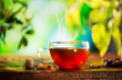 Cup of Tea over Blurred Nature Green background. Herbal Tea