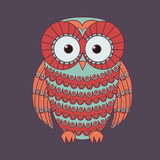 Vector illustration of decorative cute owl