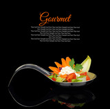 Fototapety Gourmet creamy puree with vegetable decoration