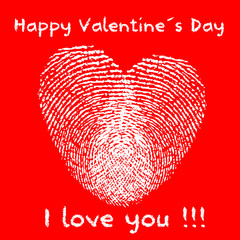 Modern valentine´s day card with fingerprints in heart shape