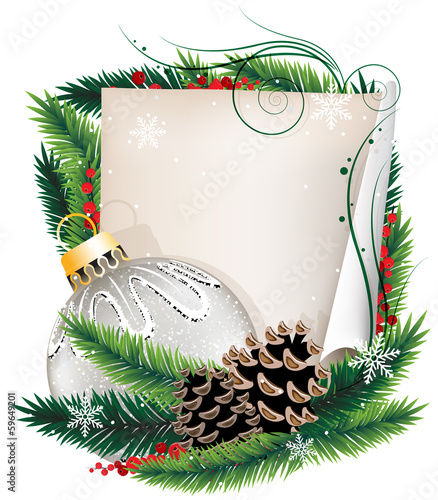 Paper scroll with Christmas ball