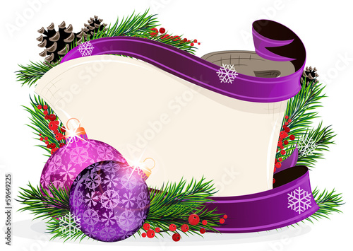 Paper scroll with purple ornaments
