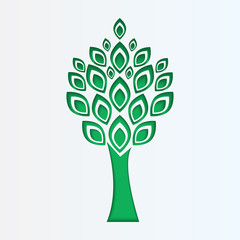 tree cut from white paper.eco icon.vector