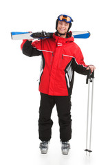 Handsome active man with sky in ski suit.