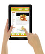 Hands holding tablet with recipe website template isolated - 59649647