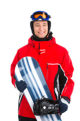 Smiling confident sportsman standing with snowboard.
