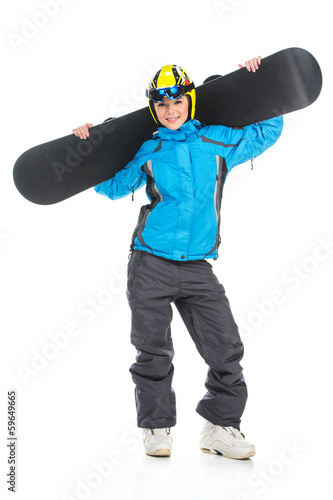 Full length shoot of young female snowboarder.