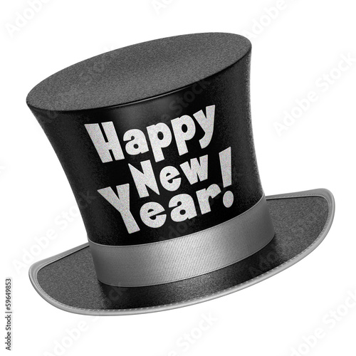 3D render of a black Happy New Year top hat
