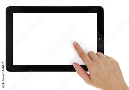 canvas print picture Female hands horizontally holding tablet with blank screen