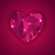 red diamond heart shape with star lights effect  greeting card