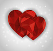 two abstract diamond hearts shape greeting card