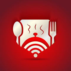 icon concept for restaurant menu and free WiFi zone