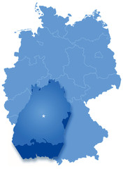 Map of Germany where Baden-Wurttemberg is pulled out