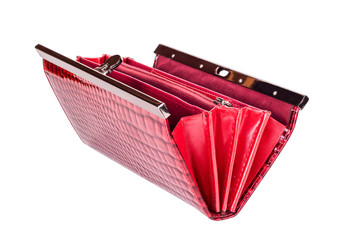 Red  purse on white isolated background
