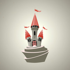 Cartoon fortified castle with flags. Icon.