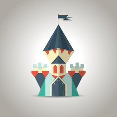 Cute origami castle from folded paper. Icon.