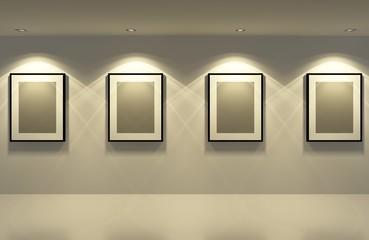 picture frame on the white wall with white floor at night,3d
