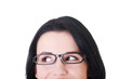 Female's face with eyeglasses. Cut out.