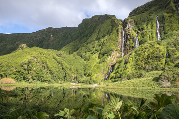 Waterfalls on Flores island, Azores archipelago (Portugal)