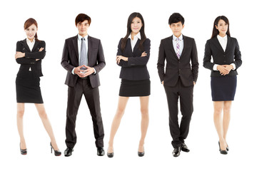 successful asian young business team standing together