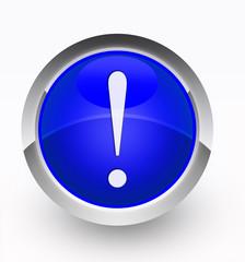 Knopf blau Ausrufezeichen