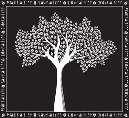 Monochrome white on black tree poster, woodcut style