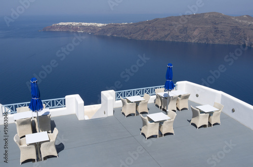 Terrace of a resort in Oia on Santorini island in Greece.