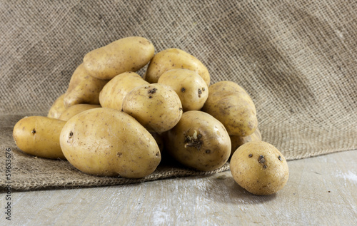 patatoes on jute background