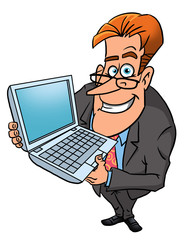 Happy businessman with laptop