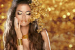 Fashion Beauty Girl Isolated on golden bokeh lights Background.