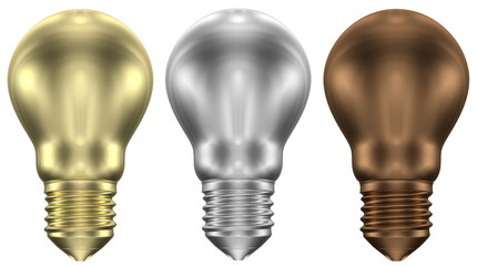 Golden, silver and bronze light bulbs